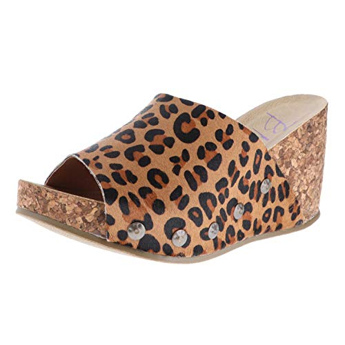 Blowfish Host Brown Autumn Leopard Womens Wedge Sandals Size 6.5M
