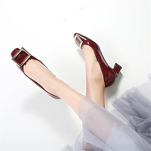 with and The Large Spring Numbers Zapatos Red with Shoes Wine Bold Version of Korean Tacón The de Summer UqSw1v8