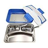 Electric Heating Lunch Box – Bento Meal Warming Container with Stainless Steel Food Tray by GlobalCareMarket (Blue)