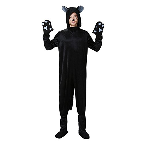 Halloween Black Cat Costume Womens Adult Kid Jumpsuit Cosplay Costume Suit,Mens Cat Jumpsuit X-Large