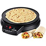 Aicok Crepe Maker 12 Inch Spread Griddle Maker 5 Temps Setting Electric Pancake Maker, Non Stick Crepe Pan, Includes Wooden Spreader