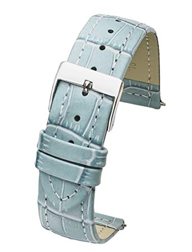 Genuine Leather in Alligator Grain Watch Band - 12mm -Baby Blue