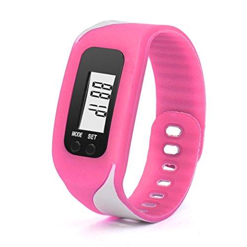 Iuhan® Fashion Digital LCD Pedometer Run Step Walking Distance Calorie Counter Watch Bracelet (Hot Pink)