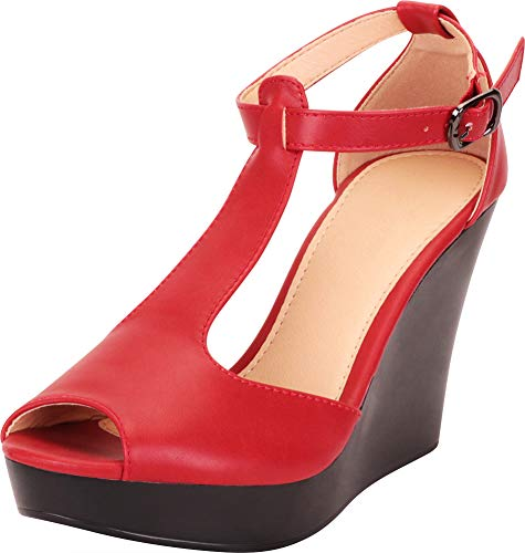 Cambridge Select Women's Peep Toe T-Strap Chunky Platform Wedge Sandal,10 B(M) US,Red -