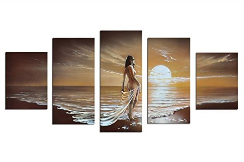 Noah Art-Romantic Nude Art, 100% Hand Painted Seascape Artwork Contemporary Abstract Oil Paintings of Woman on Sunset Ocean Beach, 5 Panel Framed Nude Wall Art for Bedroom Wall ()