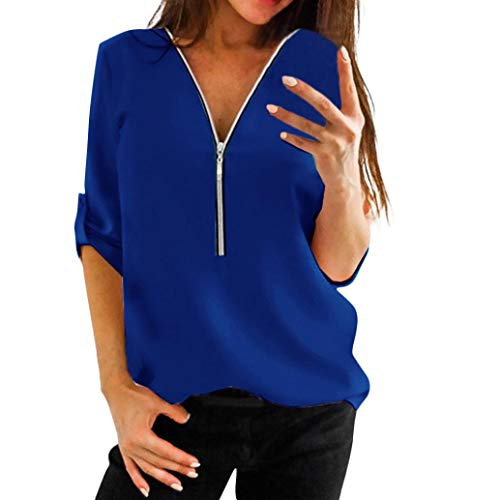 Clearance!Youngh 2018 New Womens Blouses Shirts V Neck Zipper Blouses Daily Solid Shirts Patchwork Lace Tops Casual Loose Tops Fashion Tops Shirts