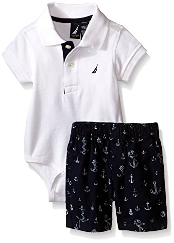 Nautica Baby Short Sleeve Polo Core Bodysuit Set, White, 0-3 Months