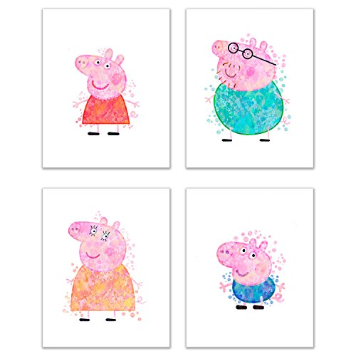 Peppa Pig Wall Decor Art - Set of 4 (8x10) Poster Photos - Bedroom Kids Pictures - Daddy Pig, Mummy Pig, George, Peppa -