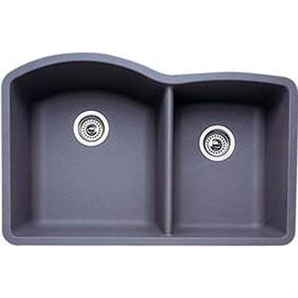 Blanco Diamond 1-3/4 Bowl Silgranit II (Um) - Metallic Gray - Sink on