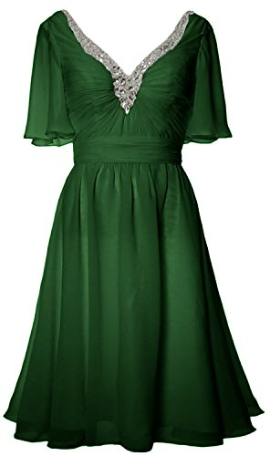 MACloth Women Short Sleeves Mother of Bride Dress V Neck Evening Formal Gown  Verde Oscuro