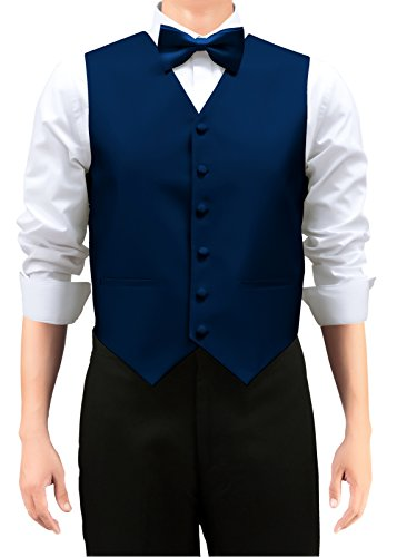 Retreez Men's Solid Color Woven Men's Suit Vest, Dress Vest Set with Matching Tie and Pre-Tied Bow Tie, 3 Pieces Gift Set as a, Birthday Gift - Navy Blue, Extra ()