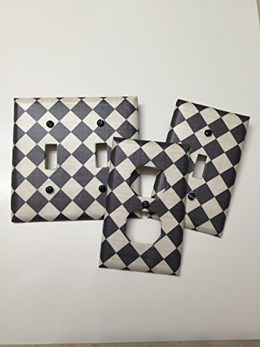 - Harlequin Check Black & off white print, check, light plate cover,light switch plate, outlet cover, outlet plate, home decor, wall art