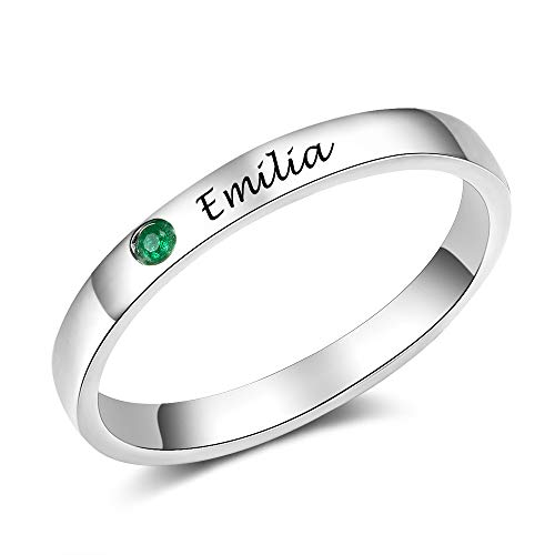 Tian Zhi Jiao Custom Engraved Initial Best Friend Name Rings Personalized Simulated Birthstone Rings for Women Birthday Graduation Gifts for Girls (6)