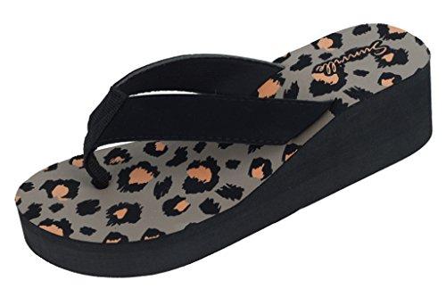 Animal Print Women's Fashion Platform Flip Flops Wedge Medium High Thong Sandals (11, Leopard)