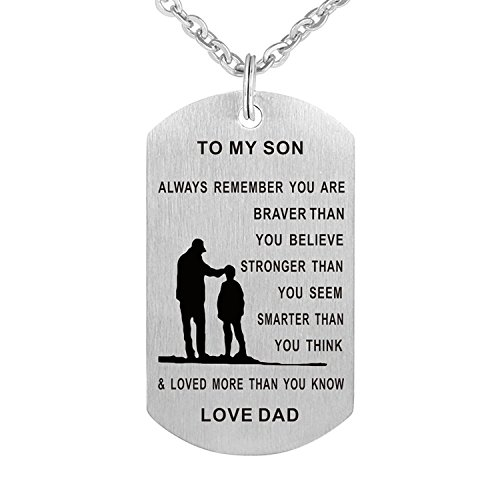 (To My Son Dog Tag Military Stainless Steel Pendant Necklace You are Braver than You Believe)