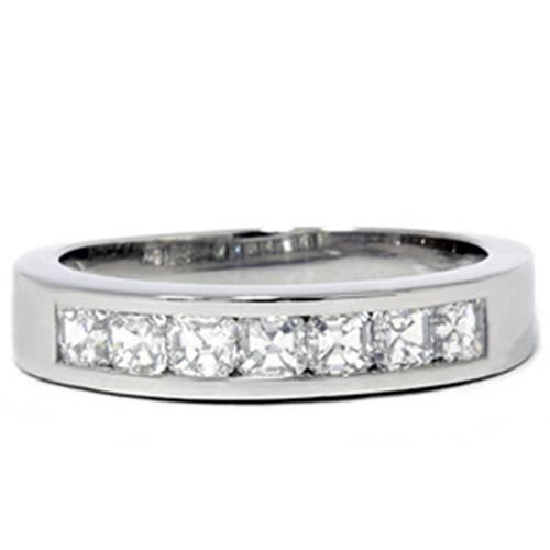 Asscher Cut Diamond Wedding Band - Platinum 1ct Set Asscher Cut Diamond Wedding Ring