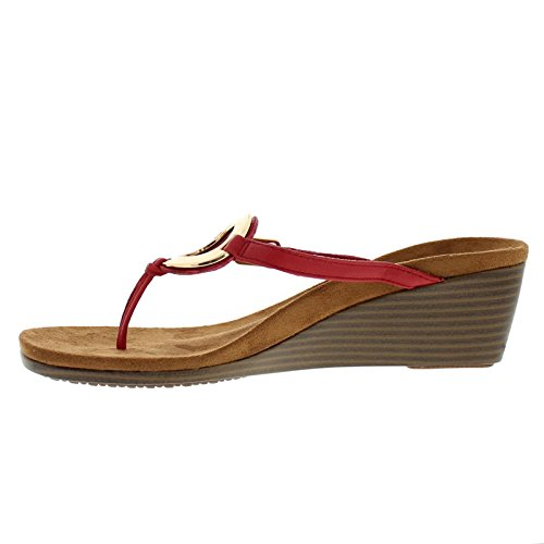 Vionic Womens 380 Orchid Park Leather Sandals Red