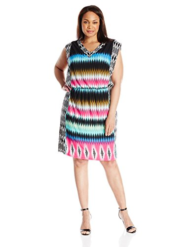 London Times Women's Plus-Size V Neck Blouson Printed Jersey Sleeveless Dress, Multi, 14W