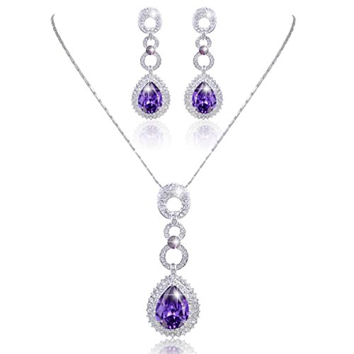 (EVER FAITH Silver-Tone Round Link Purple Zircon Necklace Earrings Set Austrian)