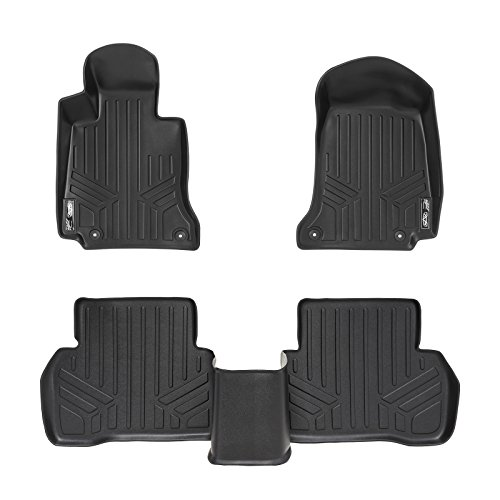 SMARTLINER Floor Mats 2 Row Liner Set Black for 2015-2018 Mercedes Benz C Class Sedan Only