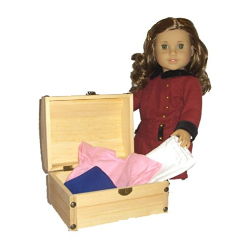 - Historical Wooden Chest - Made to Fit 18 Inch American Girl History Doll Accessories Storage
