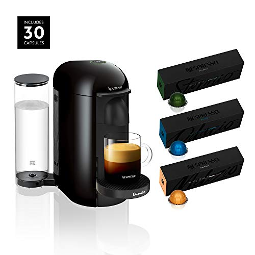 Nespresso VertuoPlus Coffee and Espresso Maker by Breville, Ink Black with BEST SELLING COFFEES INCLUDED