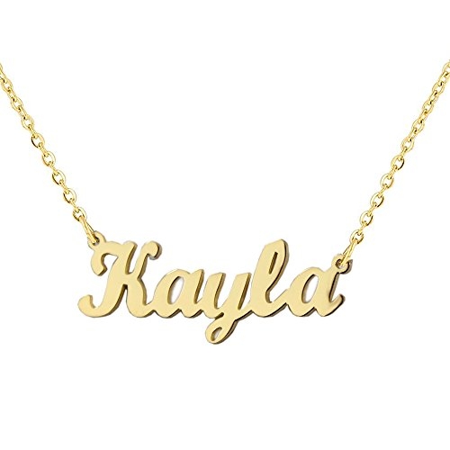 Nameplate Chain Necklace - Romantic Gift Personalized Custom With Any Name Choker Necklace Stainless Steel with 18K Gold Plated Handwriting Signature Customized Nameplate Necklace (Gold Color)