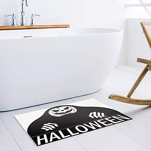 shunhangdayaofang Sensitive Screaming Doormat Halloween Decoration Doormat,Black and White 23.6x15.7inch -