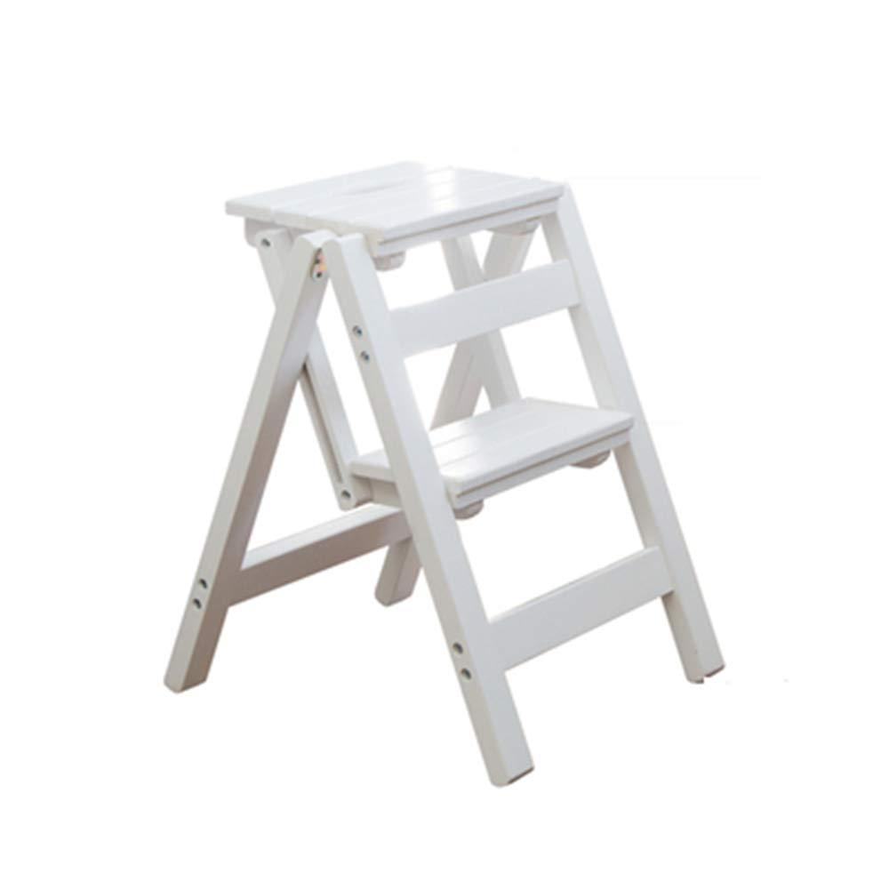 port/átil, Taburete Plegable de Madera Maciza Multifuncional se Puede Usar como Escalera y Taburete DQM Pr/áctica y Conveniente Silla de Escalera Plegable de Madera para el hogar