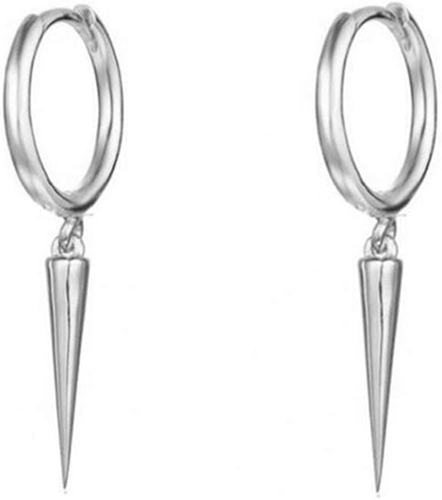 Minimalist Spike Dangle Drop Hoop Earrings for Women Teen Girls Men Sterling Silver Charms Hoops Cuff Cartilage Stud Tragus Helix Wrap Geometric Earrings Hypoallergenic Fashion Personalized Punk