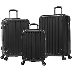 Olympia Whistler Ii 3 Piece Luggage Set 21/25/29 inch, Black