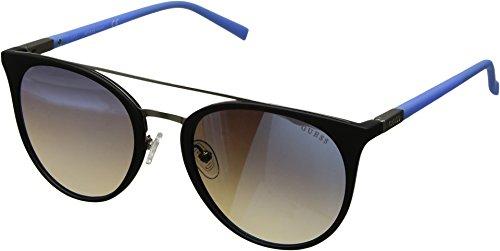GUESS Gu3021 Wayfarer Sunglasses, black & blue mirror, 56 mm