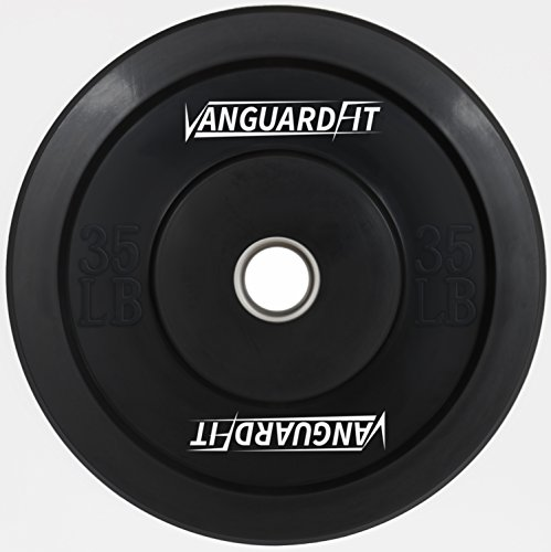 Vanguard Fit 35 lb. Single Black Solid Rubber Olympic sized Bumper plate with Stainless Steel Insert from Made with low bounce virgin rubber. 3 year Warranty! For Sale