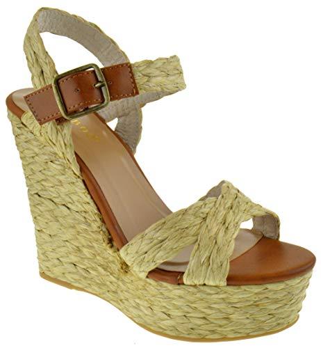 BAMBOO Choice 60X Womens Slingback Buckle Platform Wedge Dress Sandals Natural 10