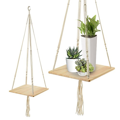 Macrame Shelf Planter Hanger for Indoor Plants with Wooden Shelf, Bohemian Hanging Plant Stand and Decor for Modern Homes, 45 Inches, by California Home Goods by California Home Goods