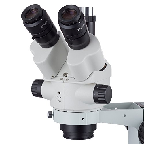 AmScope 7X-45X Simul-Focal Stereo Lockable Zoom Microscope on Dual Arm Boom Stand by AmScope (Image #1)