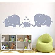 MAFENT(TM) Three Cute Elephants parents and kid Family wall decal With Hearts Wall Decals Baby Nursery Decor Kids Room Wall Stickers (Grey)