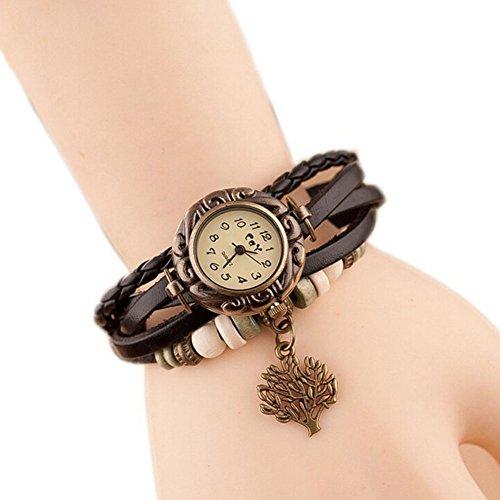Women Weave Wrap Leather Bracelet Wrist Watch Black - 8