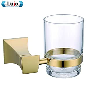 Solid Brass Cone Shaped Gold Plated Toothbrush Tumbler Holder Bathroom Accessories