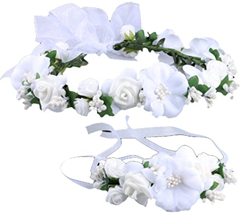 Love Sweety Rose Flower Crown Wreath Wedding Headband Wrist Band Set (White) by Love Sweety