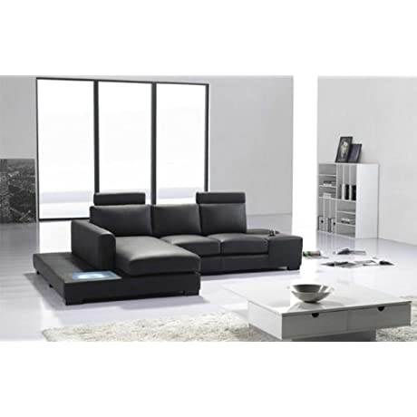 T35 Mini Black Leather Sectional With Headrests And Light