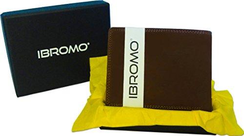 ibromo® Trifold Braun Echt Leder Portemonnaie für Herren mit Coin & Reißverschluss Tasche, ID oder Foto-Clear Windows und Kreditkarte Slots. Geschenk-Box.