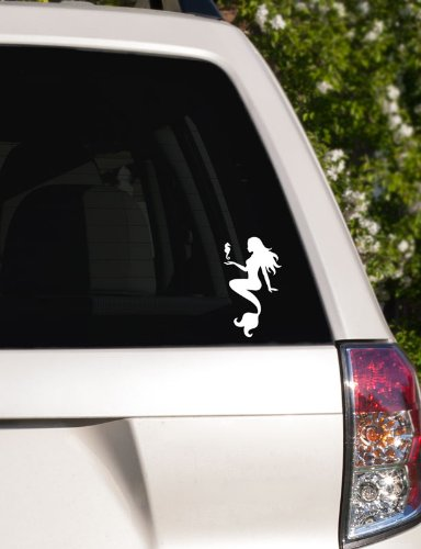 White Mermaid with Seahorse Car Window Decal