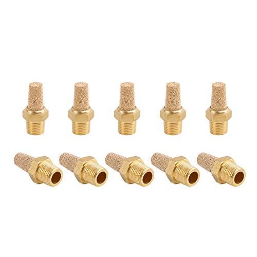 SNS PST-N01 Male Thread 1/8 NPT Brass Pneumatic Exhaust Muffler Silencer 10 PCS Per Pack