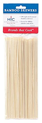 HIC Bamboo BBQ, Kabob and Grill Skewers, 8-Inches Long, Set of 100