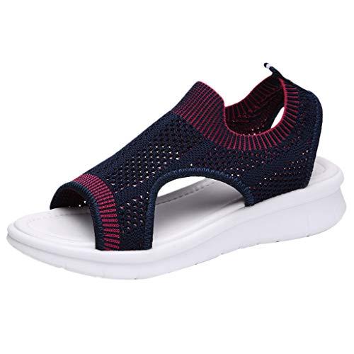 (EDTO Women Comfy Platform Sandal Shoes,Women's Casual Woven Open Toe Mesh Comfort Shoes Hollow Out Dark Blue)