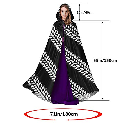 RECONFENG Hooded Cloak Long Cape for Halloween Tire Tracks Cosplay Costumes 59inch Unisex Adult Black