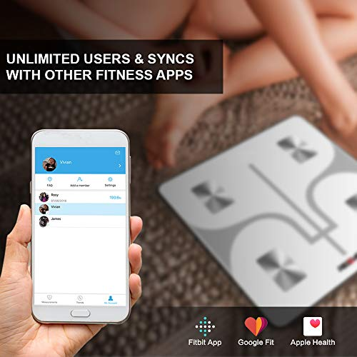 REDOVER-Bluetooth Body Scale with IOS Android Digital Body Water, BMI, Visceral 400lb