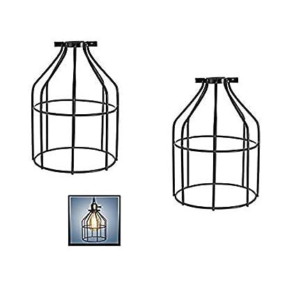 Homcom Cage à oiseaux en métal avec porte-lampe et pendentif en forme de cage Noir Packung mit Einem GDRAVEN
