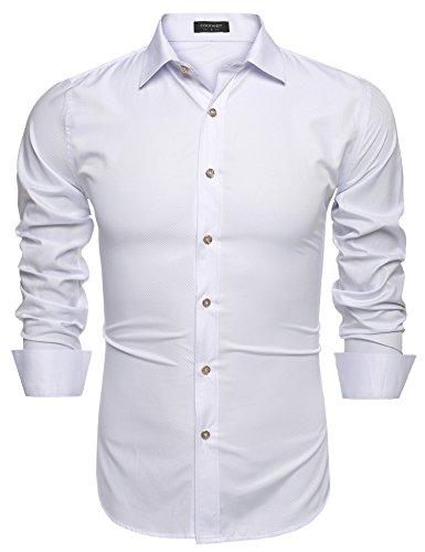 Coofandy Men?s Fashion Slim Fit Long Sleeve Stripe Dress Shirt Casual Shirts